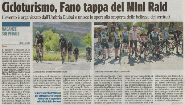 Viaggi in bici; Corriere Adriatico, 11 dicembre 2015, Mini Raid